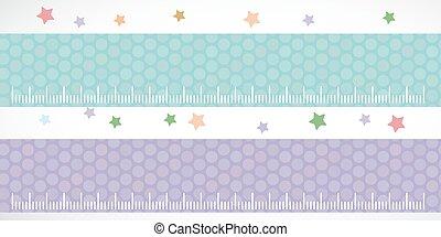 Children height meter wall Sticker set lilac blue. Set stiker with stars. Vector