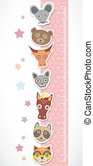 Children height meter wall sticker. Set of funny animals muzzle pink stiker with stars. Vector