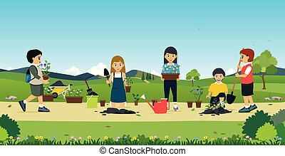 Children help plant trees.