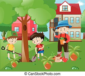 Children helping out in the garden