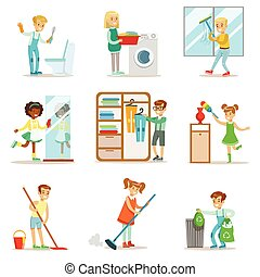 Children Helping With Home Cleanup, Washing The Floor,...