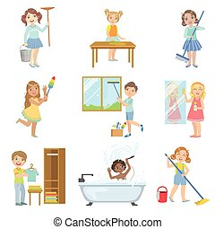 Children Helping With Spring Cleaning