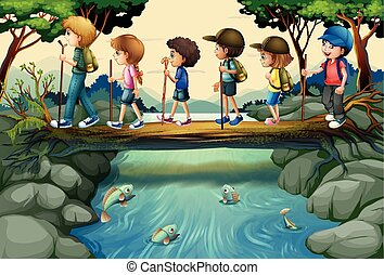 Children hiking in the woods illustration