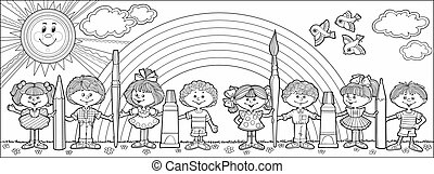 Children hold brushes and pencils