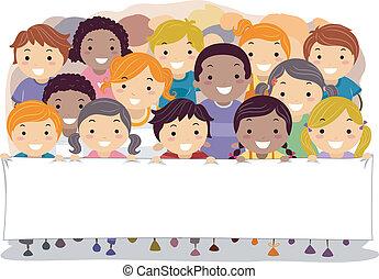 Children Holding a Banner