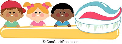 Children holding a big toothbrush with toothpaste. Vector illustration