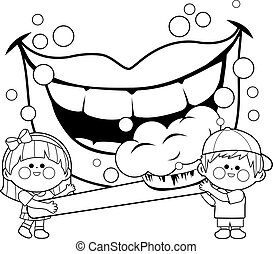 Children holding a toothbrush and brushing teeth. Vector coloring book page