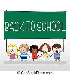 Children holding back to school board