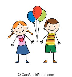 Children holding balloon
