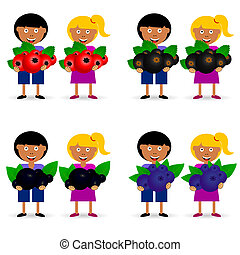 children holding berries fruit illustration