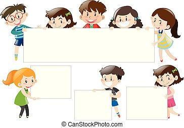 Children holding blank white boards