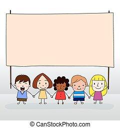 Children holding board