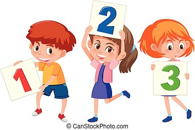 Children holding card number