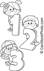 Children holding cartoon numbers. Vector black and white coloring page