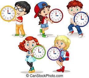 Children holding clock on white background