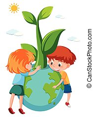 Children holding eco earth