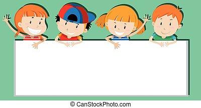Children holding empty sign