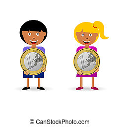 children holding euro coin illustration