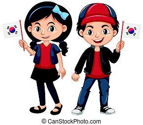 Children holding flag of South Korea