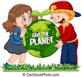 Children holding globe on white background
