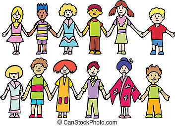 cartoon image of children holding hands isolated on a white background.