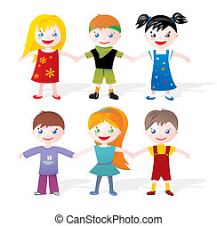 children holding hands - Little boys and girls in colorful...