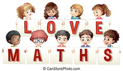 Children holding love maths sign