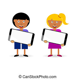 children holding mobile phone illustration