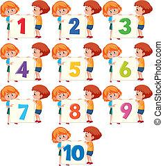 Children holding number board