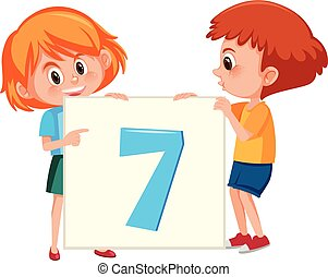 Children holding number seven card