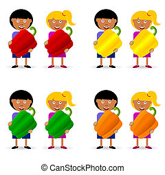 children holding papper illustration