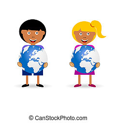 children holding planet illustration