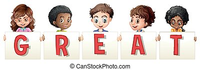 Children holding sign for word great