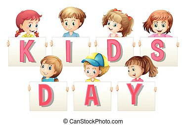 Children holding sign for word kids day