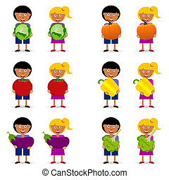children holding vegetables item illustration