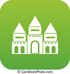 Children house castle icon digital green