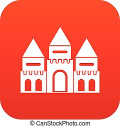 Children house castle icon digital red