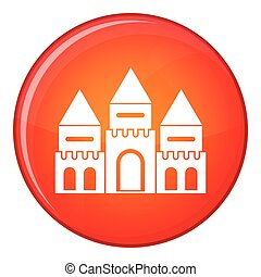 Children house castle icon, flat style