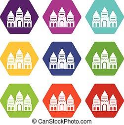 Children house castle icon set color hexahedron
