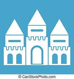 Children house castle icon white isolated on blue background...