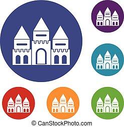 Children house castle icons set