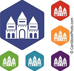 Children house castle icons set rhombus in different colors...