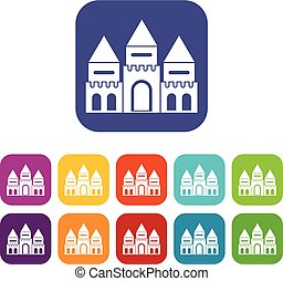 Children house castle icons set vector illustration in flat...
