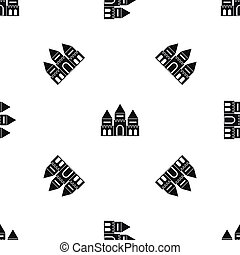 Children house castle pattern seamless black - Children...