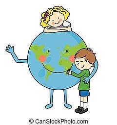 Children hugging the planet