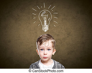 Children idea with draft lamp, boy came up with idea