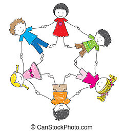 Children - Illustration children holding hands in a circle