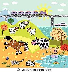 children illustration farm animals