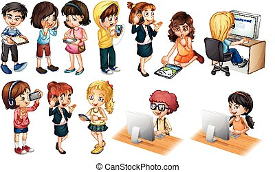 Children - illustration of children working on computer