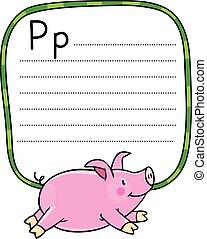 Children illustration of little pig. Alphabet P